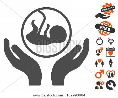 Embryo Care Hands icon with bonus dating pictures. Vector illustration style is flat iconic symbols for web design app user interfaces.
