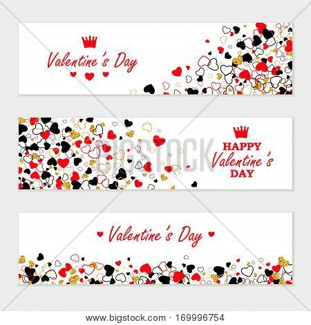 Vector creative horizontal banner set of Golden Glitter, Line, Color Hearts. Modern Valentines Day, Wedding, Anniversary, Birthday, Party Invitation background.