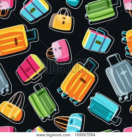 Vector Seamless Black Pattern With Multicolor Luggage, Suitcase, Bags. Hand Drawn Doodle Illustratio