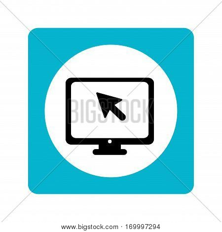 color square with monitor screen and mouse pointer inside vector illustration