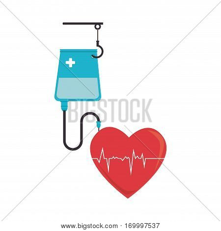 colorful silhouette with serum bag and heart with signs of life vector illustration