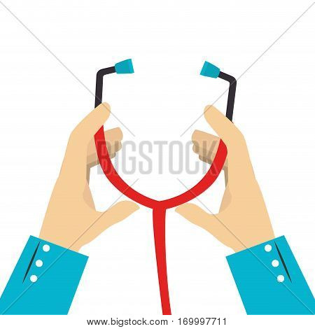 colorful silhouette of hands with stethoscope vector illustration