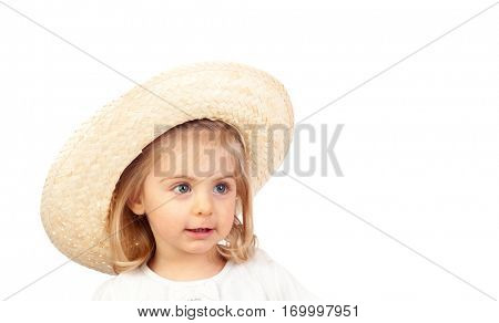 Pretty blonde baby girl isolated on a white background