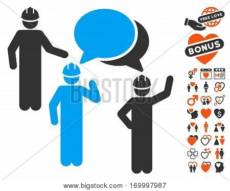 Engineer Persons Forum pictograph with bonus decorative icon set. Vector illustration style is flat iconic symbols for web design app user interfaces.