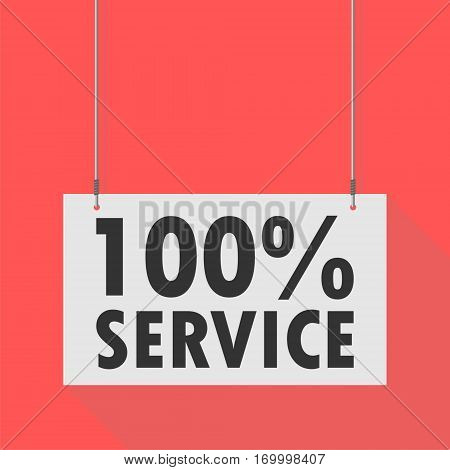 Hanging Sign 100 % service, simple vector illustration