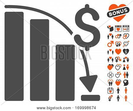 Epic Fail Trend pictograph with bonus romantic graphic icons. Vector illustration style is flat iconic symbols for web design app user interfaces.