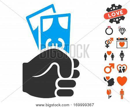 Euro Banknotes Salary pictograph with bonus decorative graphic icons. Vector illustration style is flat iconic symbols for web design app user interfaces.
