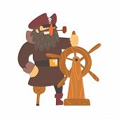 Scruffy Pirate Captain On Wooden Leg With Eye Patch Holding To Stirring Wheel, Filibuster Cut-Throat Cartoon Character.  poster
