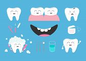 Tooth health icon set. Toothpaste toothbrush dental tools instruments thread floss mirror brush water. Children teeth care. Oral hygiene Baby background Flat design Vector illustration poster