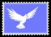 drawing dove on postage stamps poster