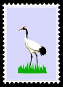 white crane on postage stamps poster