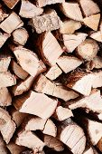 Woodpile from dry oak logs. Selective focus. poster