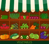 Local vegetable stall. Fresh organic food products shop on shelves. Flat vector. Local market farmer selling vegetables produce on his stall with awning. Modern flat style realistic. promote healthy eating concept. Food market shop poster