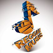Orange 3d vector shattered musical note with specks and refractions. Dimensional facet design music demolished symbol. Reggae music theme poster