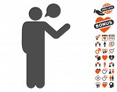Talking Man pictograph with bonus amour symbols. Vector illustration style is flat iconic elements for web design app user interfaces. poster