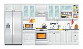 Kitchen appliances with gray interior on white background. flat home art vector illustration. indoor. kitchen interior with stove, cupboard, dishes and fridge. poster