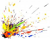 Colorful vector design of paint spill grunge poster