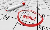 Goal Accomplish Achieve Mission Calendar Word Circled 3d Illustration poster