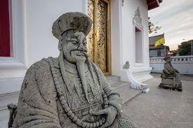 Chinese Style Gatekeeper Sculpture in Wat Moli Lokayaram Ratcha Worawihan Bangkok Thailand