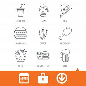Hamburger, pizza and soft drink icons. Beer, tea bag and chips fries linear signs. Chicken leg, carrot icons. Download arrow, locker and calendar web icons. Vector