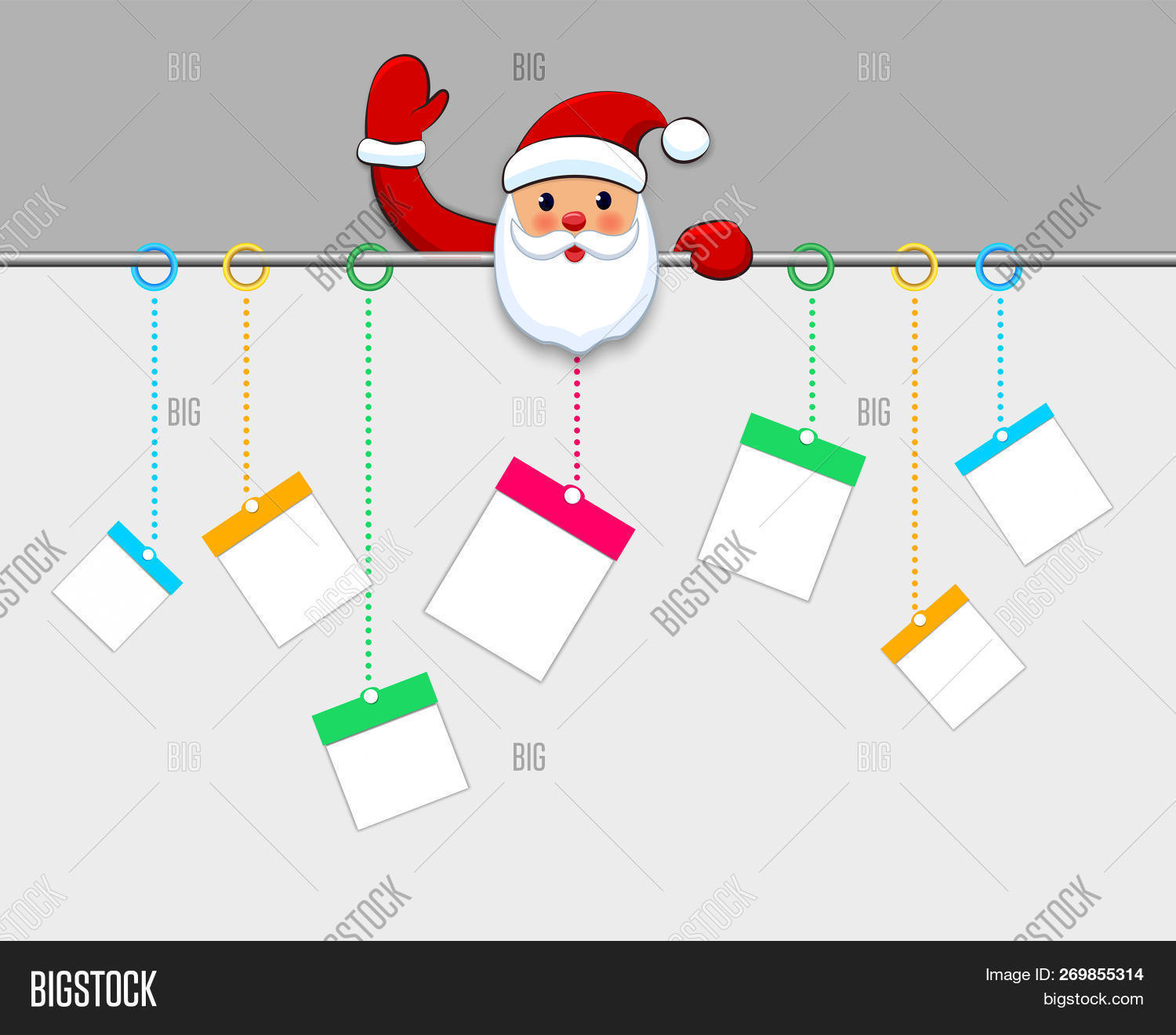 Hanging christmas gift boxes present packages paper cut on white background santa claus welcome