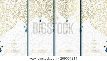 Arabesque abstract islamic element classy white and gold background card template vector set design poster