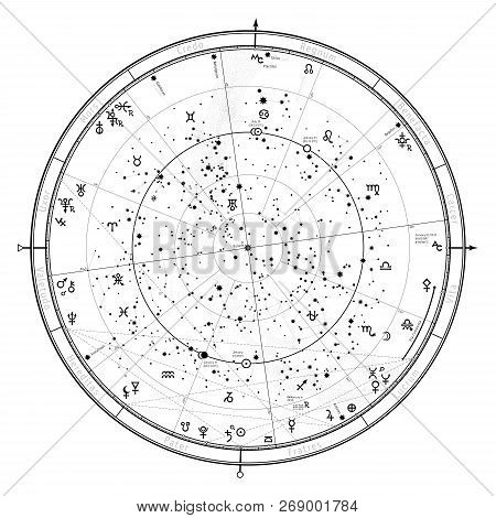 Astrological Celestial Map Of Northern Hemisphere. Horoscope On January 1, 2019 (00:00 Gmt). Detaile