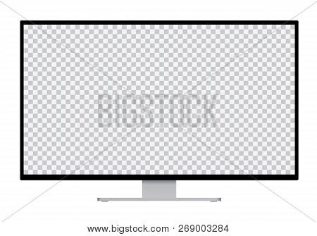 Realistic Illustration Of Black Computer Monitor With Silver Stand And Blank Transparent Isolated Sc