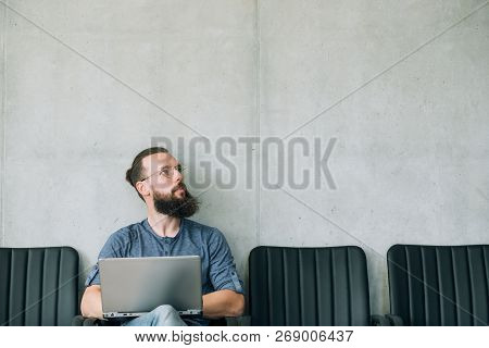 Pensive Thoughtful Man Looking Up. Job Candidate And Business Recruitment Concept. Empty Space For T