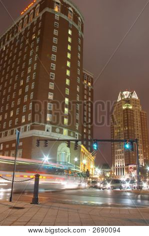 Providence, Rhode Island Downtown City At Night.