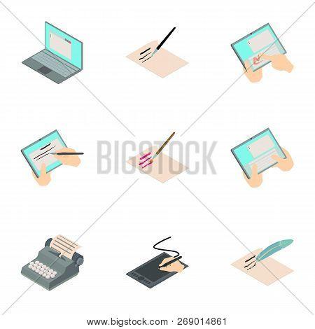 Signature Tablet Icons Set. Isometric Set Of 9 Signature Tablet Vector Icons For Web Isolated On Whi
