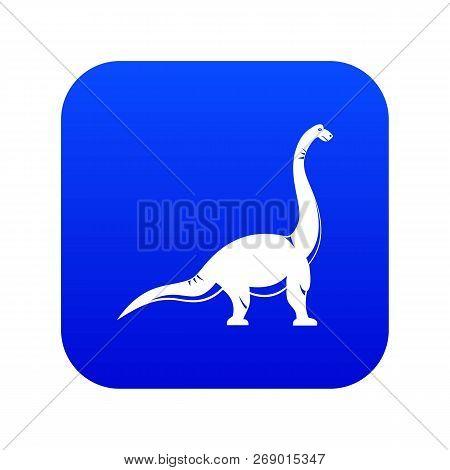 Brachiosaurus Dinosaur Icon Digital Blue For Any Design Isolated On White Vector Illustration