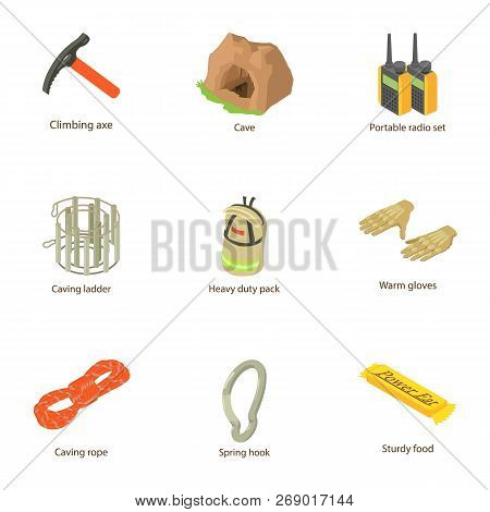 Produce Mineral Icons Set. Cartoon Set Of 9 Produce Mineral Vector Icons For Web Isolated On White B