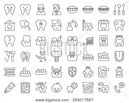 Dentist And Dental Clinic Related Icon, Such As Toothbrush, Tooth Decay, Make An Appointment, Teeth