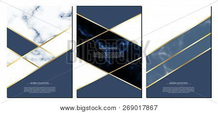 Marble Collection Abstract Pattern Texture Navy Blue Background Template Illustrator Vector Design