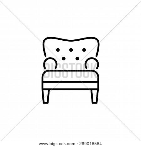 Black & White Vector Illustration Of Comfortable Tufted Armchair. Line Icon Of Arm Chair Seat. Uphol