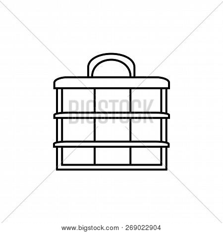 Black & White Vector Illustration Of Sewing Organizer. Line Icon Of Accessories For Quilting, Patchw