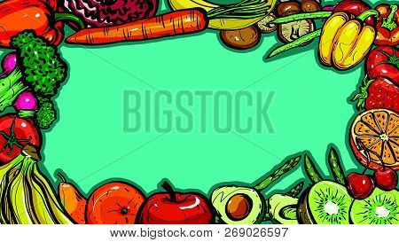 Hand Drawn Frame Healthy Food Of Different Fruits And Vegetables On Blue Background, Vector Illustra