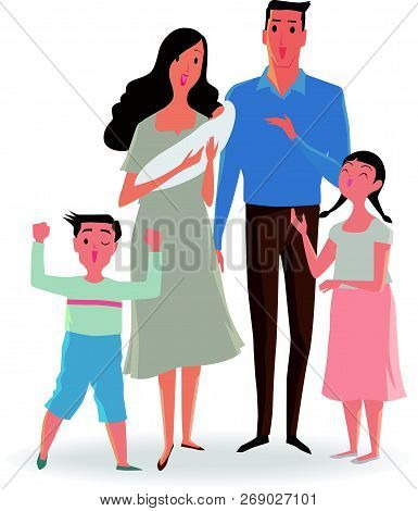 Happy Family Of Father, Mother, Sister And Son. Vector Illustrations Isolated On White Background.