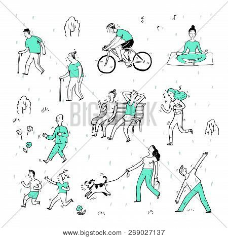 Hand Drawn Of Action People In The Park, Cartoon Characters And Elements, Sketch.