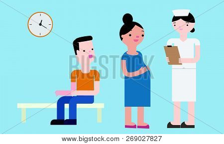 The Nurse Is Checking The Patient. Vector Illustration