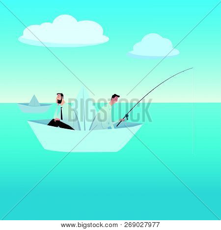 Men Fishing On A Paper Boat. Metaphor Or Symbol Of Overcoming Adversity In Strategy And Finding Lead