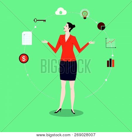 Business Woman Presentation Standing With Chart And Graph, Metaphor Or Symbol Of Overcoming Adversit