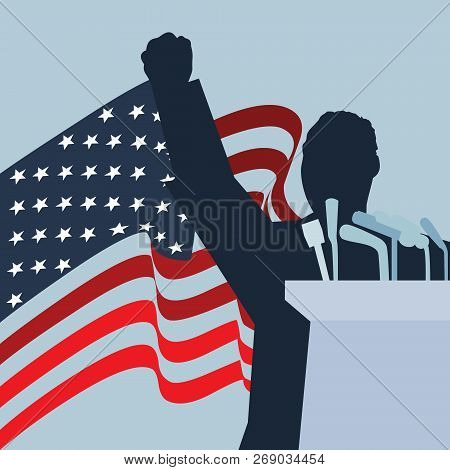 A Vector Standing Silhouette Illustration With The United States Of America National Flag On The Bac