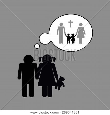 Siblings Orphans Think About The Death Of Their Parents Vector Illustration
