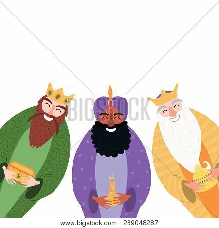 Hand Drawn Vector Illustration Of Three Kings Of Orient With Gifts. Isolated Objects On White Backgr