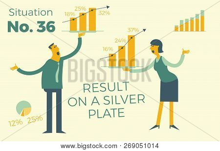Business Infographics With Illustrations Of Business Situations. Businessman And Businessman Showing