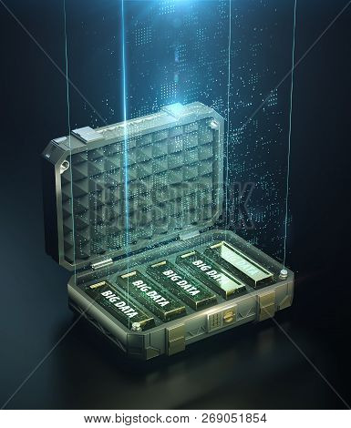 Safe Case Full Of Golden Bars With Words Big Data On Them And Cloud Of Digital Points Glowing Atop.