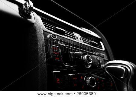 Modern Luxury Sport Car Inside. Interior Of Prestige Car. Black Leather. Car Detailing. Dashboard. M