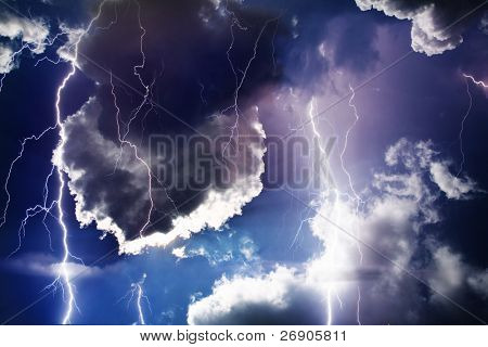 Dark ominous clouds. Thunderstorm with lightning.